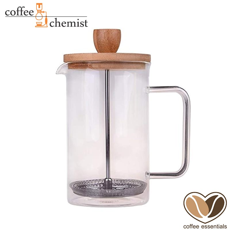 Coffee Essentials Double Walled Glass Plunger with Bamboo lid - 350ml
